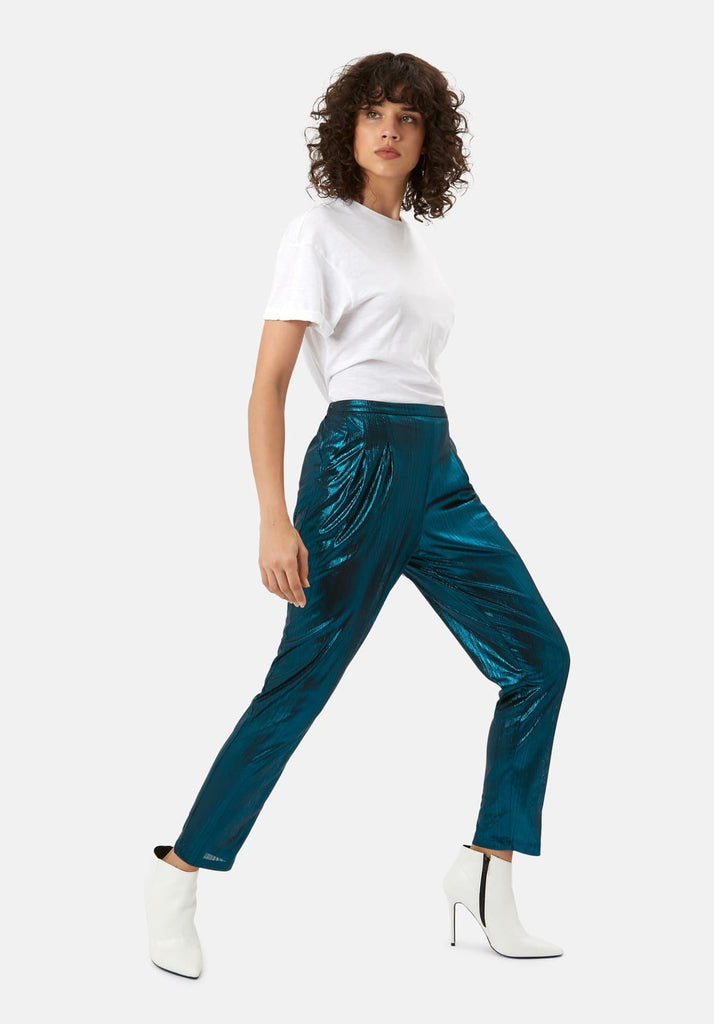 Traffic People Metallic Tapered Trouser in Blue Front View Image