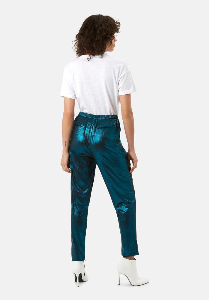 Traffic People Metallic Tapered Trouser in Blue Side View Image