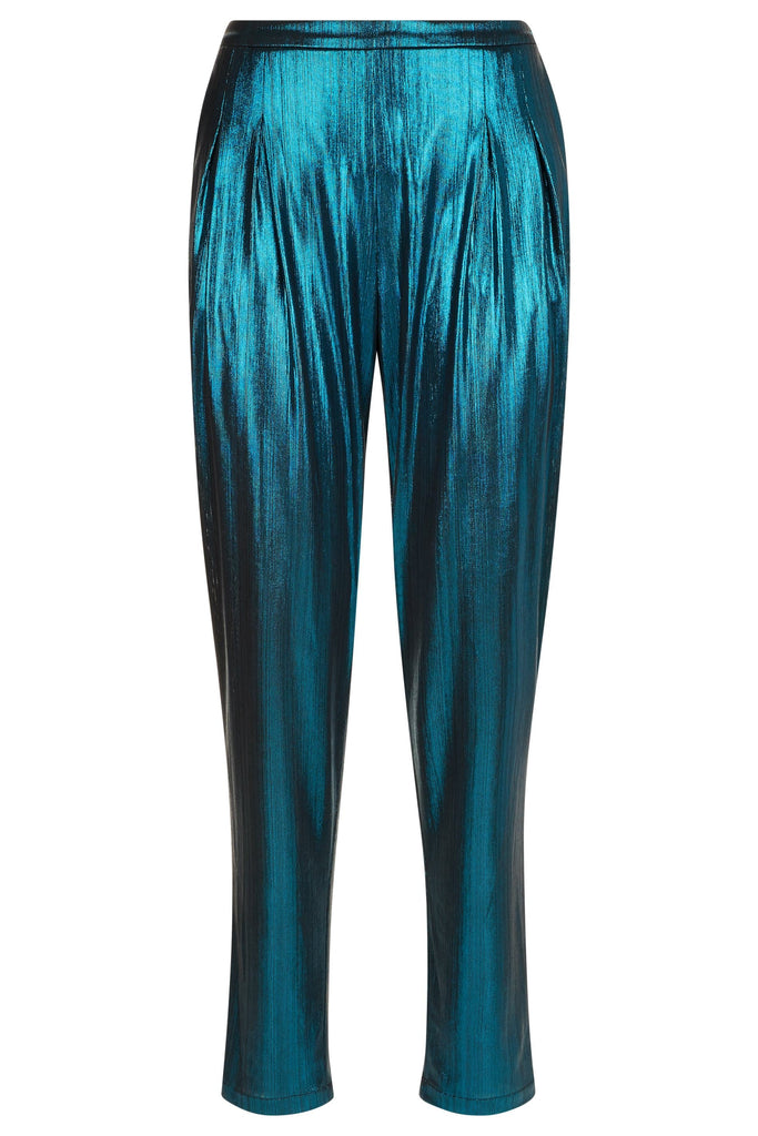 Traffic People Metallic Tapered Trouser in Blue FlatShot Image
