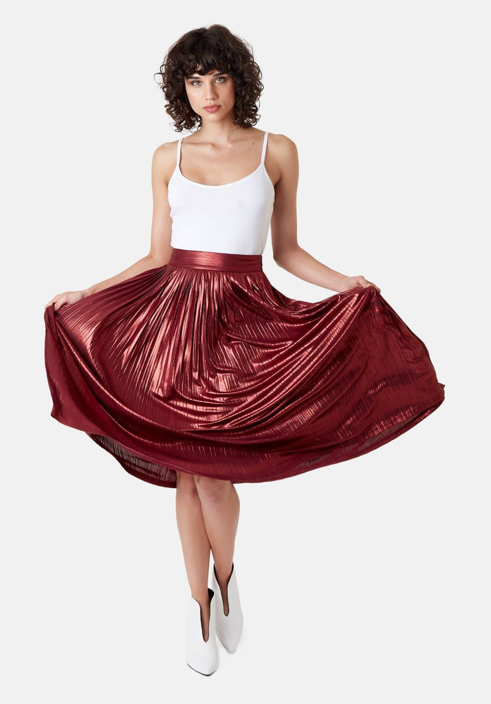 Traffic People Metallic Midi Falls Skirt in Rust Front View Image