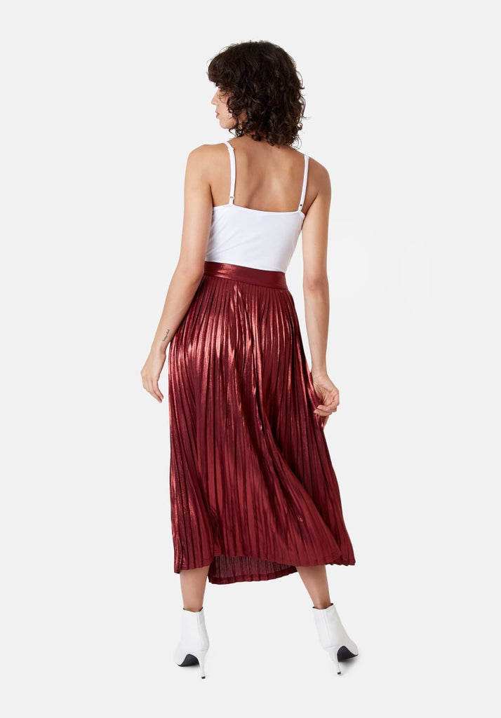 Traffic People Metallic Midi Falls Skirt in Rust Back View Image