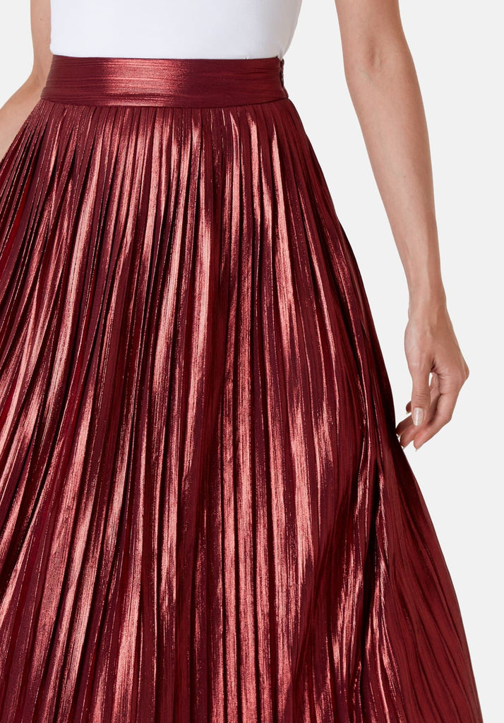 Metallic Midi Falls Skirt in Rust