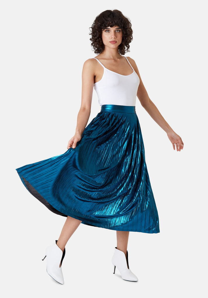 Traffic People Metallic Falls Midi Skirt in Blue Front View Image