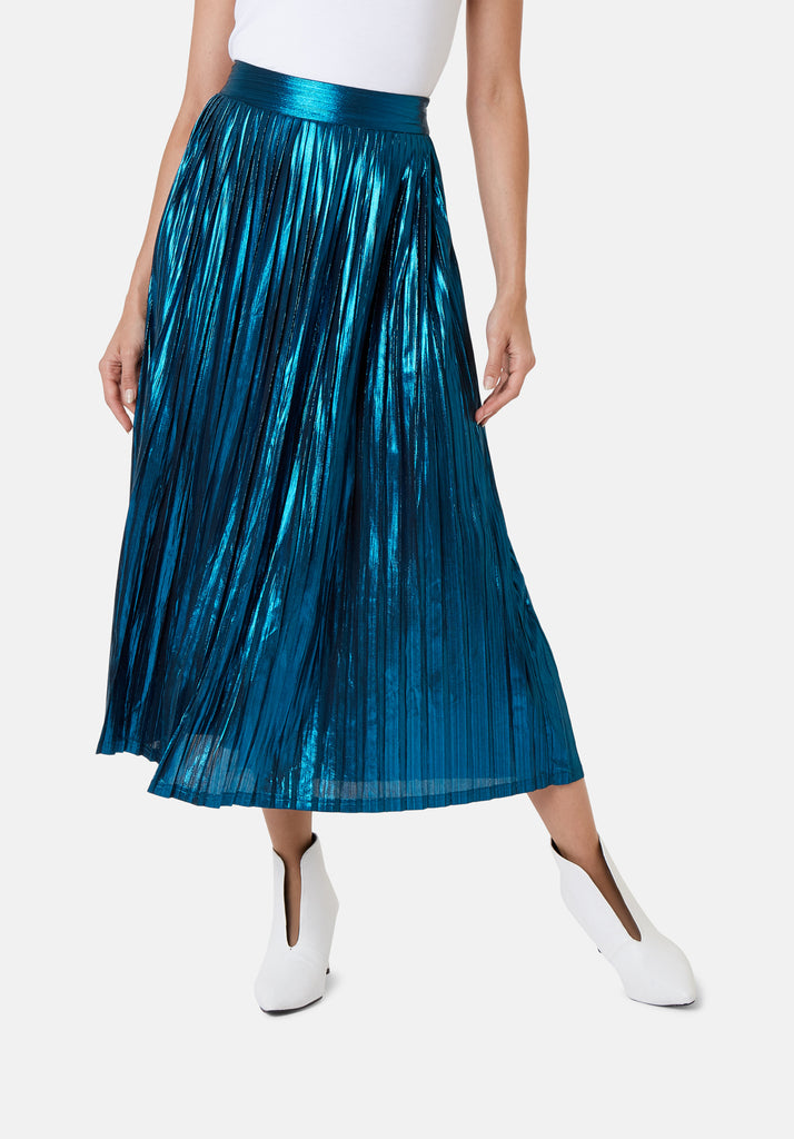 Traffic People Metallic Falls Midi Skirt in Blue Close Up Image