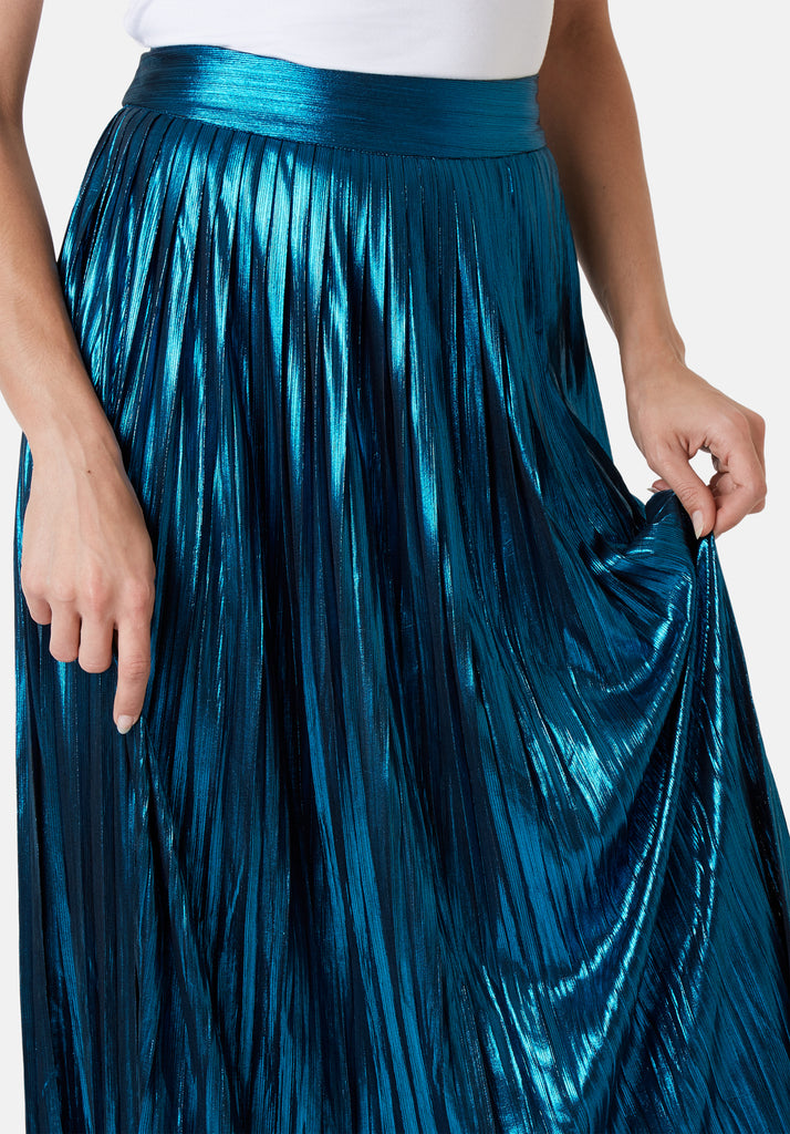 Metallic Falls Midi Skirt in Blue