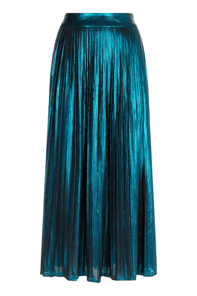 Traffic People Metallic Falls Midi Skirt in Blue FlatShot Image