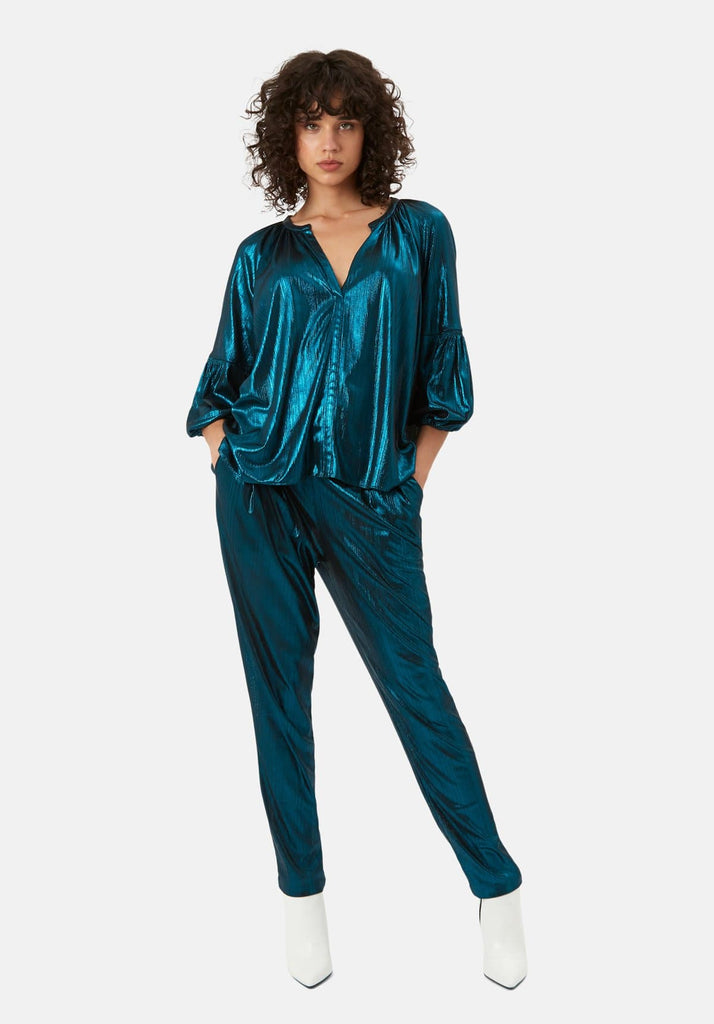 Traffic People Metallic V Neck Folklore Top In Blue Front View Image