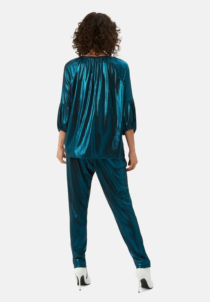 Traffic People Metallic V Neck Folklore Top In Blue Back View Image
