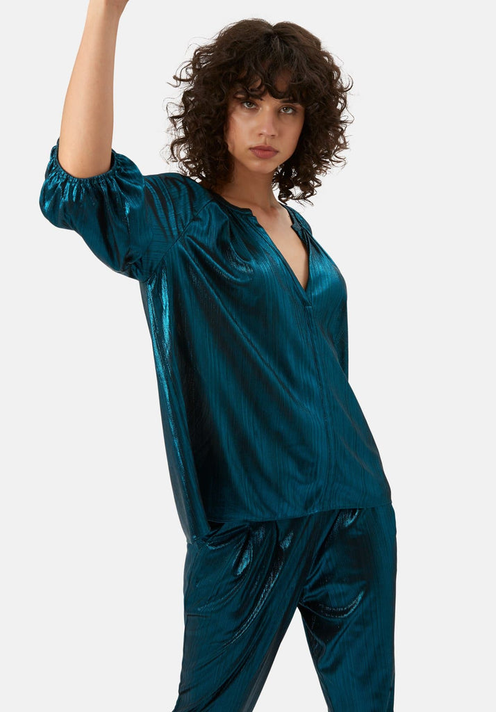 Traffic People Metallic V Neck Folklore Top In Blue Side View Image