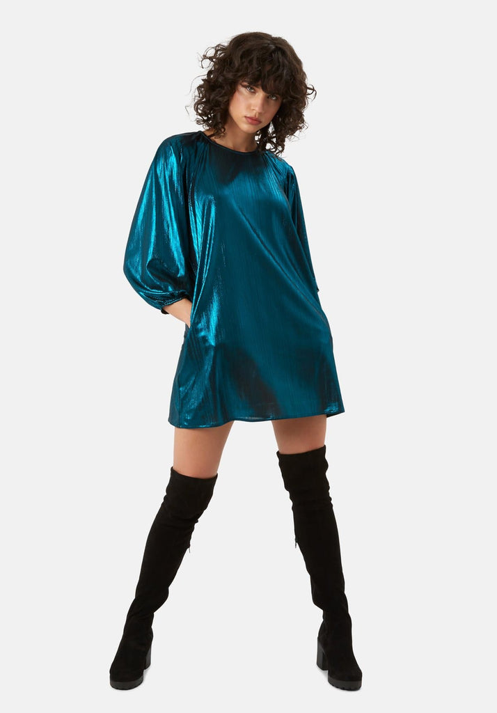 Traffic People Metallic Long Sleeve Please Me Mini Dress in Blue Front View Image