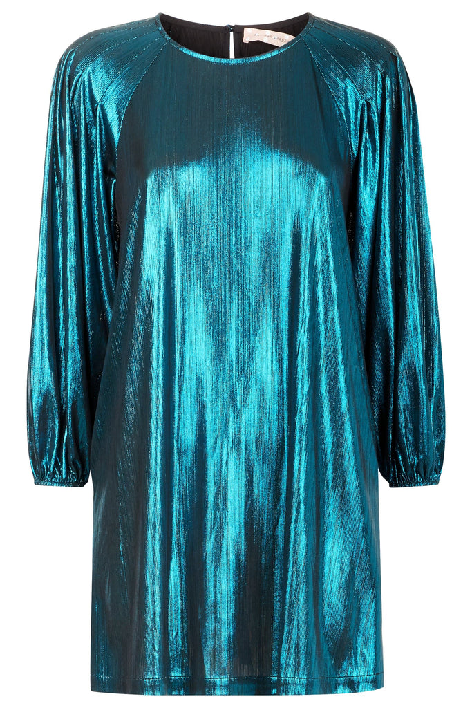 Traffic People Metallic Long Sleeve Please Me Mini Dress in Blue FlatShot Image