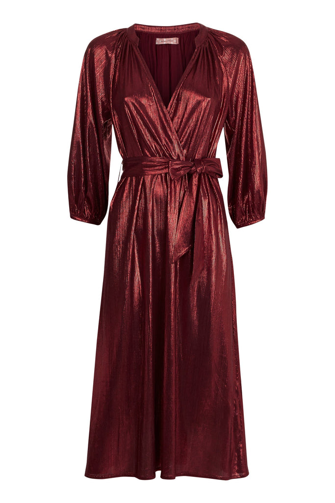 Traffic People Metallic Belt Up Midi Dress in Wine FlatShot Image