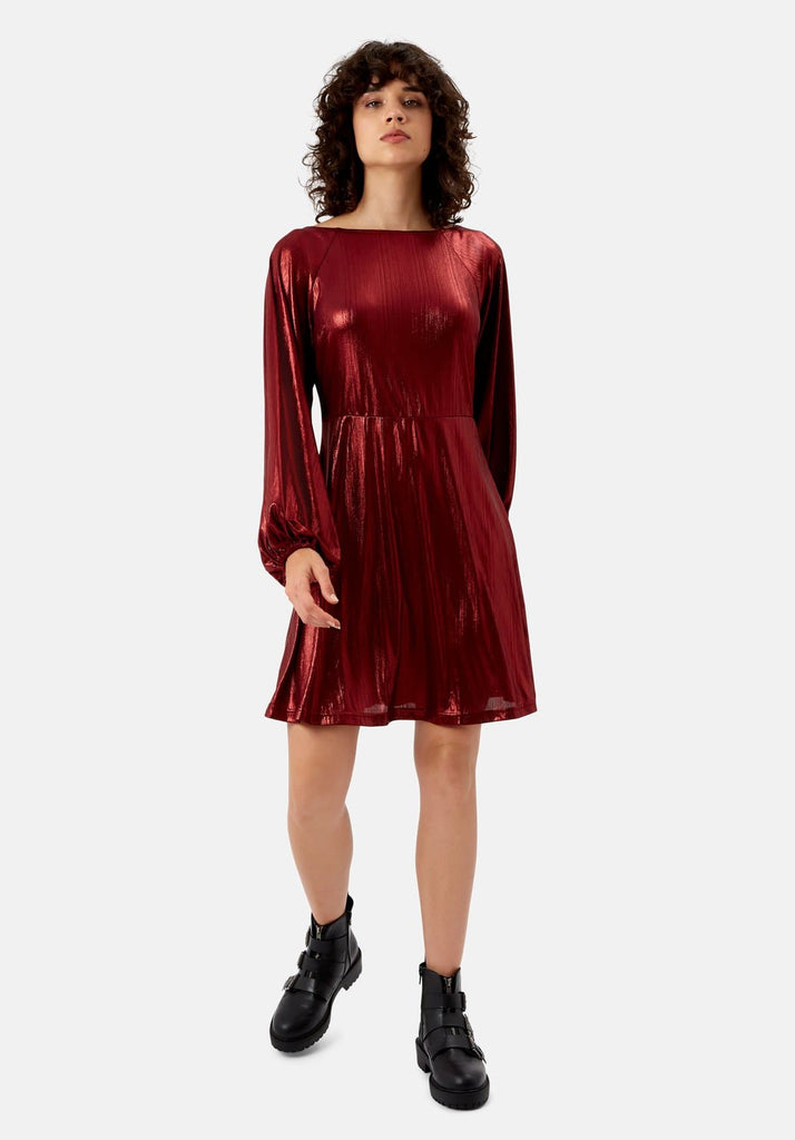 Traffic People Metallic Long Sleeve Audrey Mini Dress in Wine Front View Image
