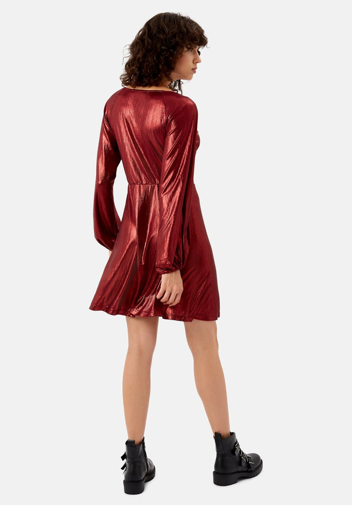 Traffic People Metallic Long Sleeve Audrey Mini Dress in Wine Back View Image