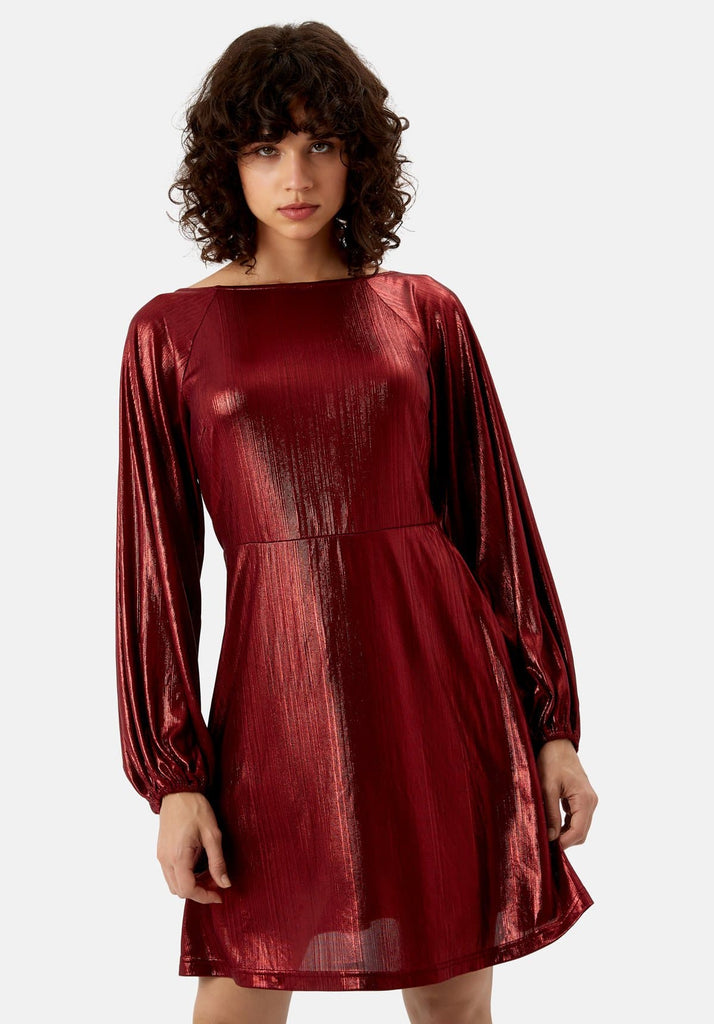 Traffic People Metallic Long Sleeve Audrey Mini Dress in Wine Side View Image