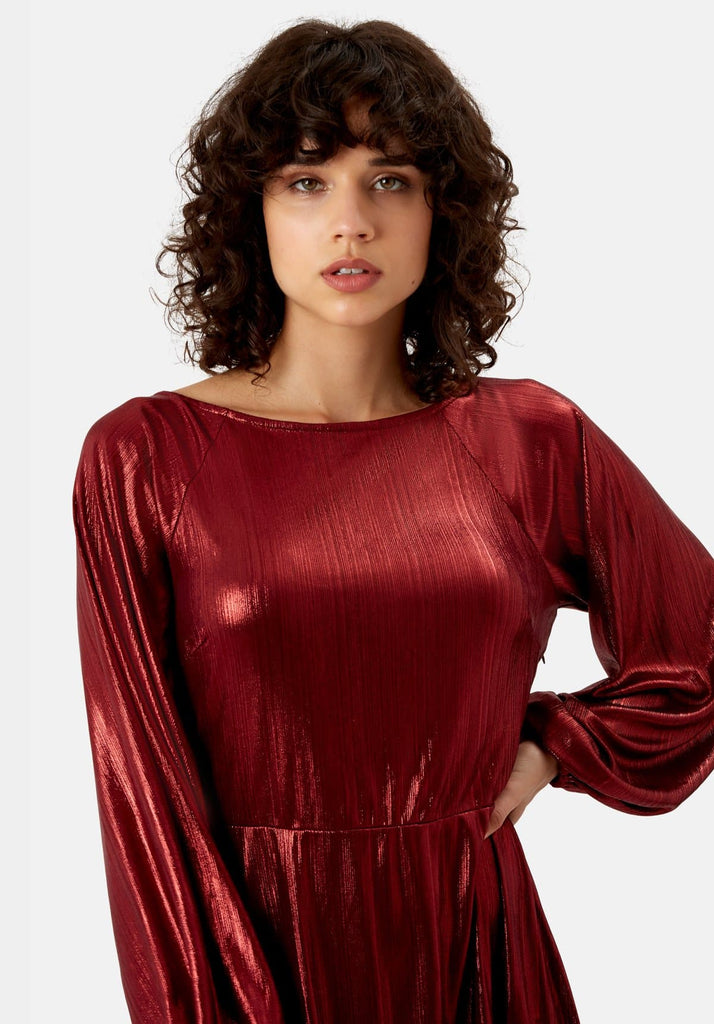 Traffic People Metallic Long Sleeve Audrey Mini Dress in Wine Close Up Image
