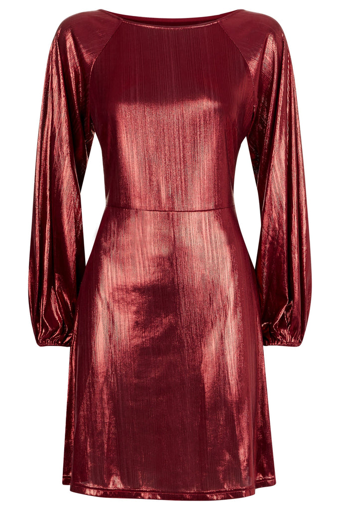 Traffic People Metallic Long Sleeve Audrey Mini Dress in Wine FlatShot Image