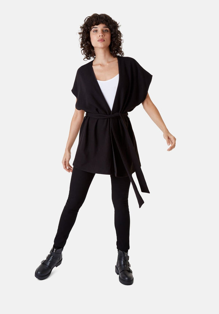 Poncho Sleeveless Wrap Cardigan in Black