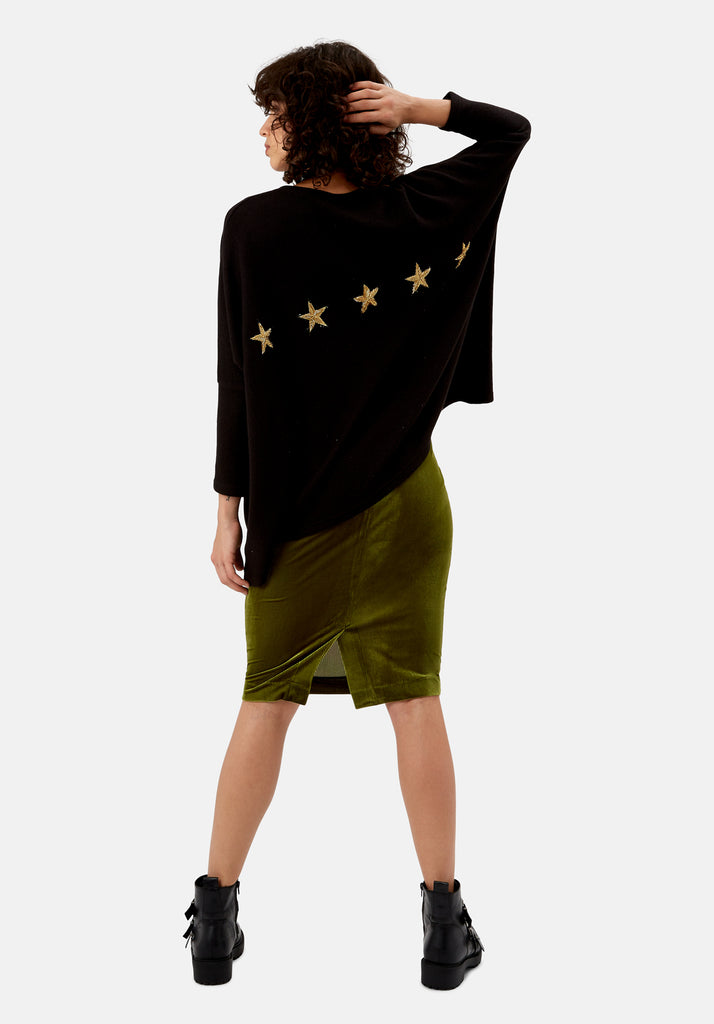 Traffic People Star Duster Sloppy Joe Jumper in Black Front View Image