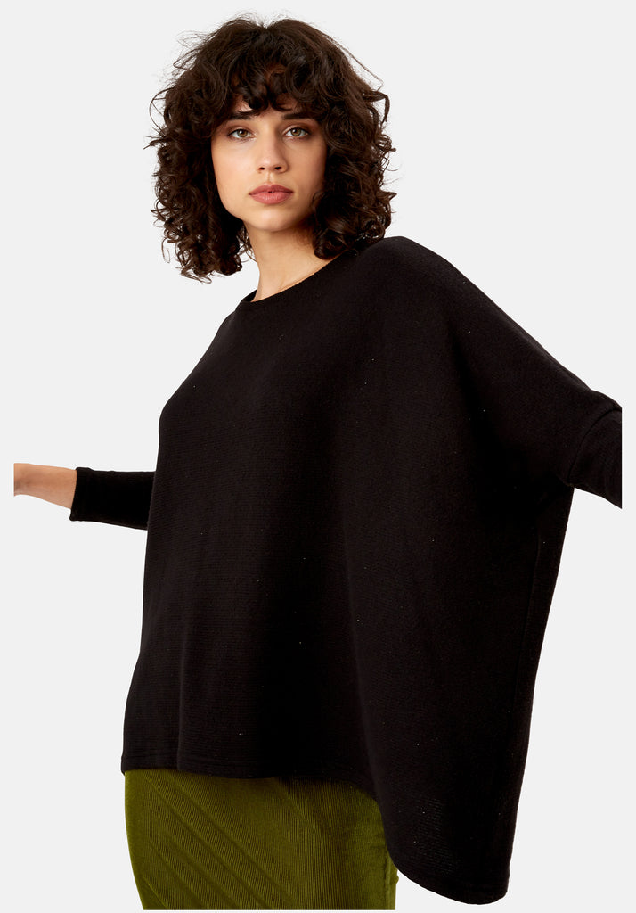 Traffic People Star Duster Sloppy Joe Jumper in Black Close Up Image