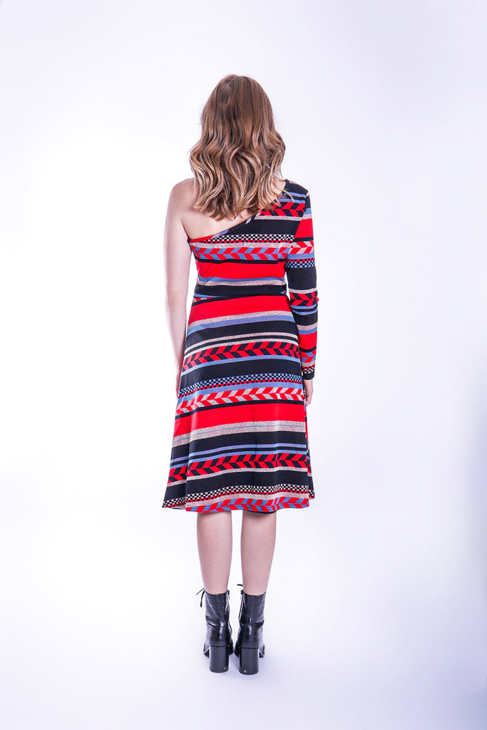 Traffic People Debbie One Shoulder Midi Party Dress in Red Close Up Image