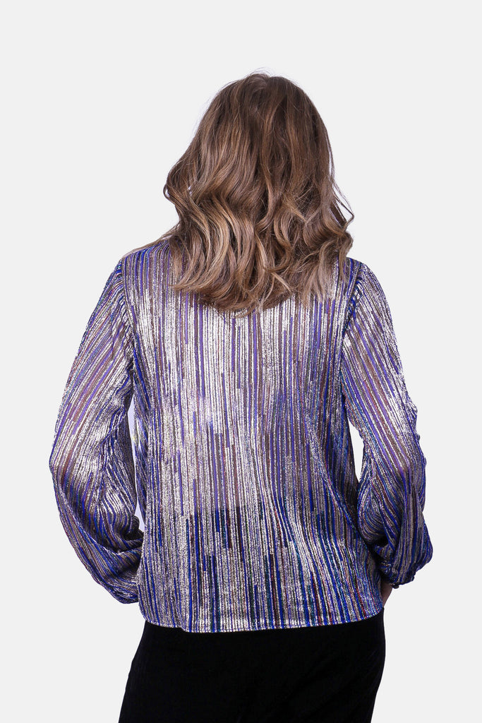 Traffic People Ruffle Choir Long Sleeve Blouse in Blue Close Up Image
