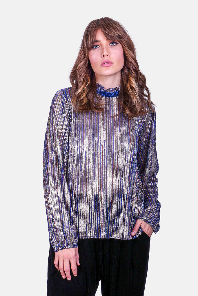 Traffic People Ruffle Choir Long Sleeve Blouse in Blue Front View Image