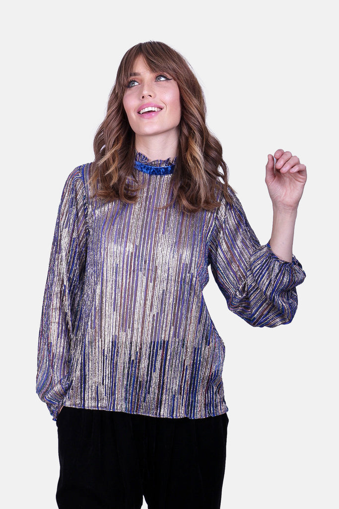 Traffic People Ruffle Choir Long Sleeve Blouse in Blue Side View Image