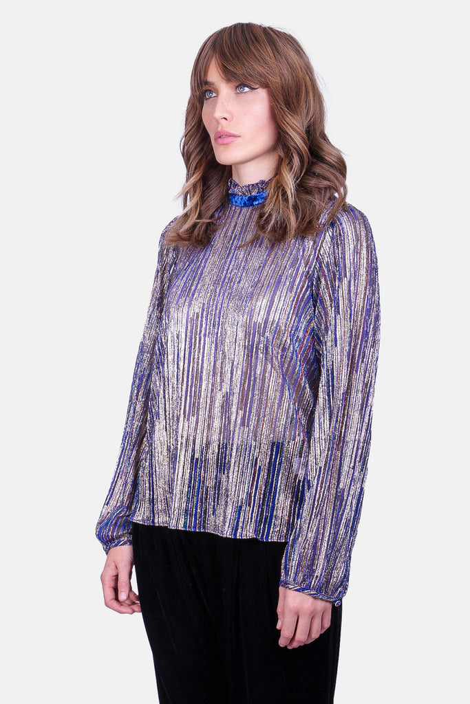 Traffic People Ruffle Choir Long Sleeve Blouse in Blue Back View Image