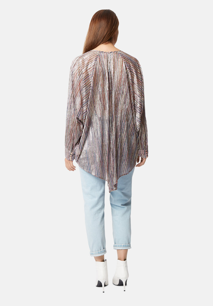 Traffic People Batwing Metallic Pink Tunic Shirt Back View Image