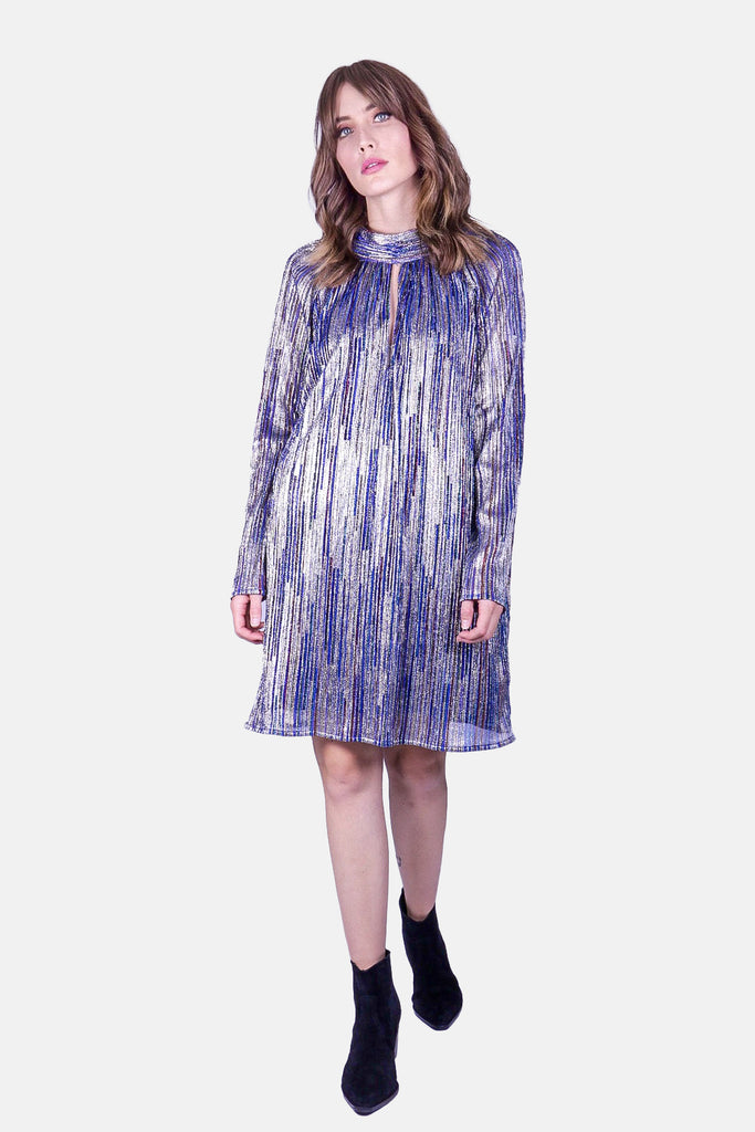 Traffic People Glib Mini Shift Dress in Blue Side View Image