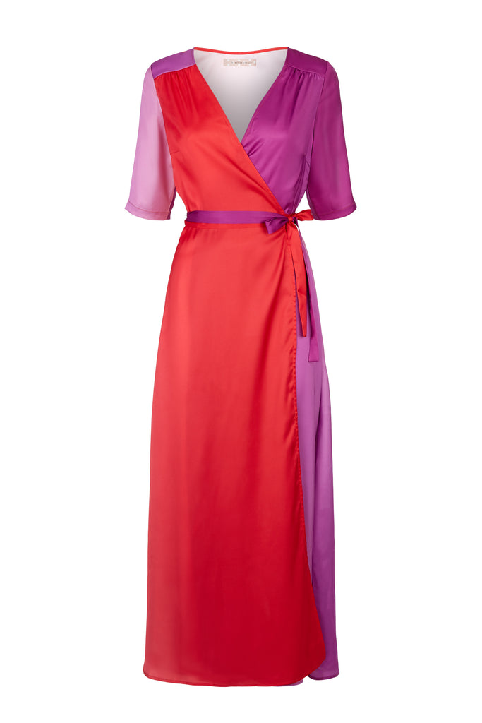 Traffic People Wrap 3/4 Sleeve Maxi Dress in Red and Purple FlatShot Image