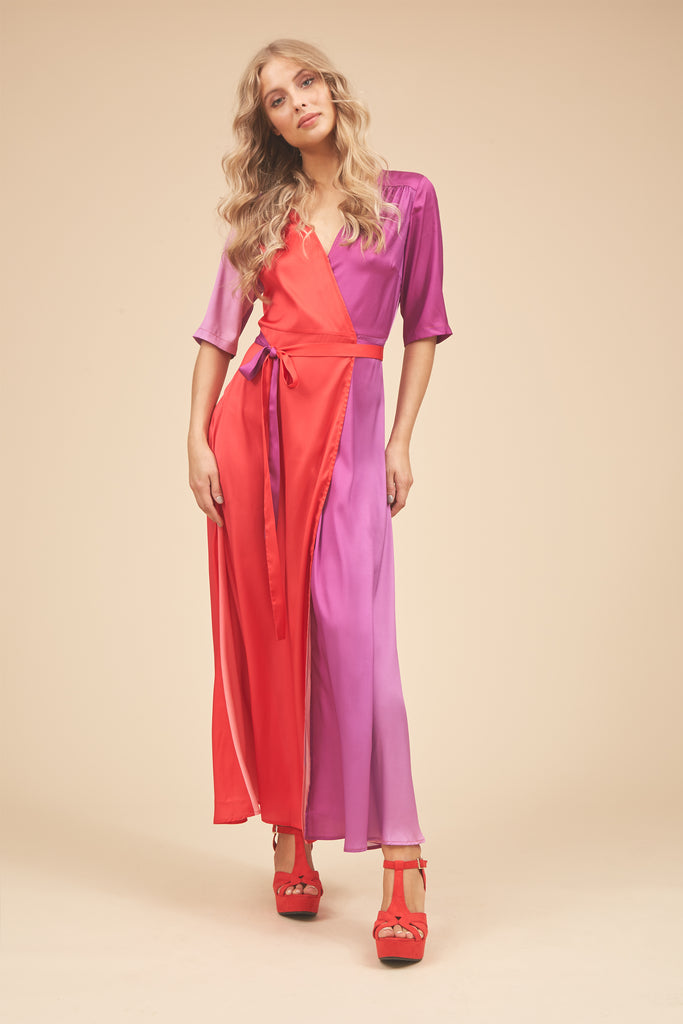 Traffic People Wrap 3/4 Sleeve Maxi Dress in Red and Purple Front View Image