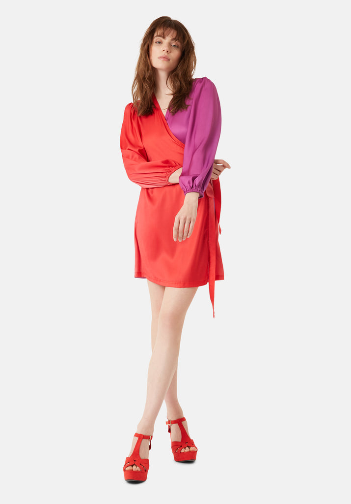 Traffic People Munity Wrap Longsleeve Dress in Red and Purple Side View Image