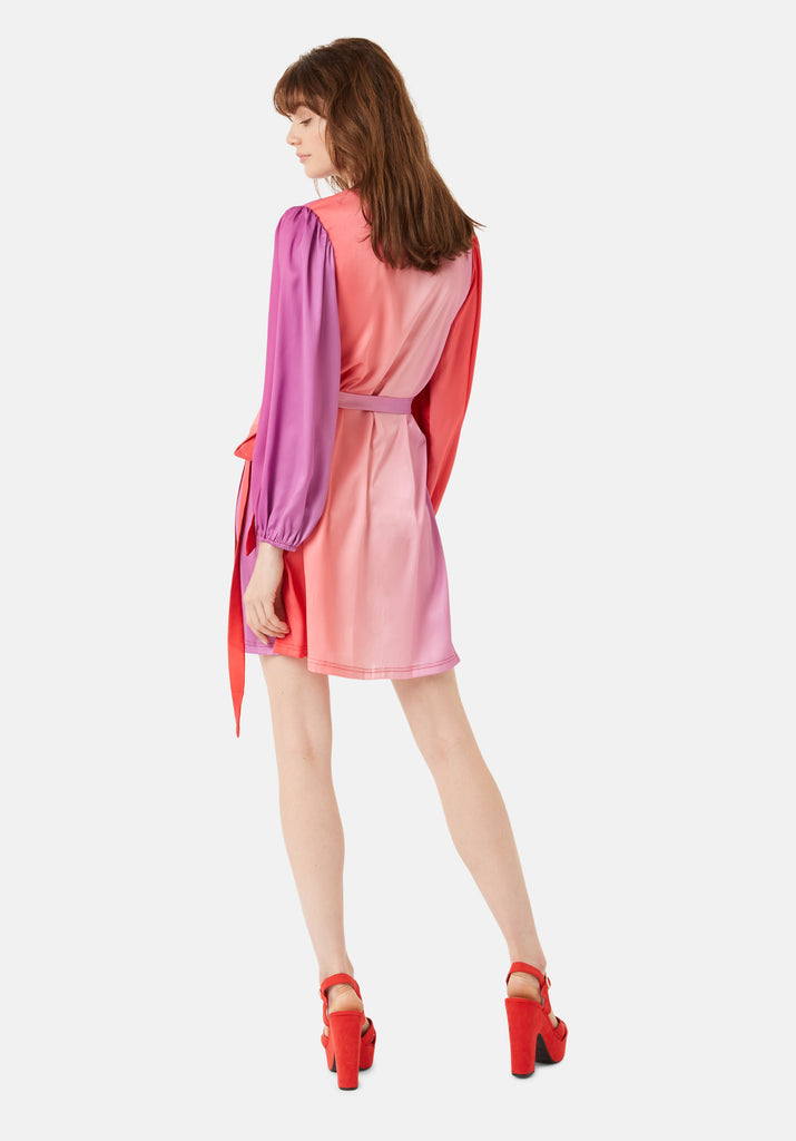 Traffic People Munity Wrap Longsleeve Dress in Red and Purple Back View Image