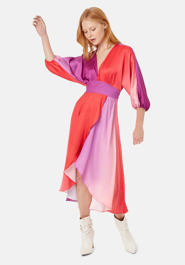 Muse And Bemuse asymmetric V-neck Midi Dress in Red and Purple