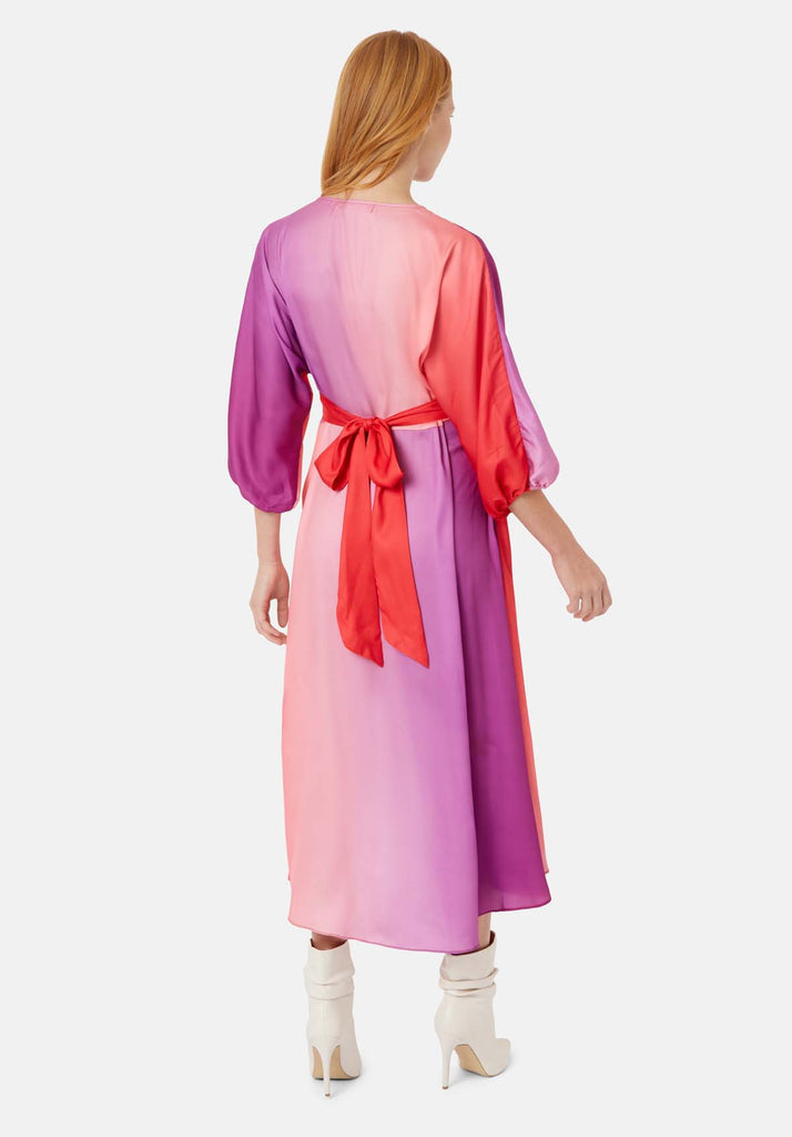 Traffic People Muse And Bemuse asymmetric V-neck Midi Dress in Red and Purple Side View Image