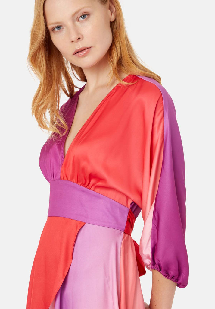 Traffic People Muse And Bemuse asymmetric V-neck Midi Dress in Red and Purple Close Up Image