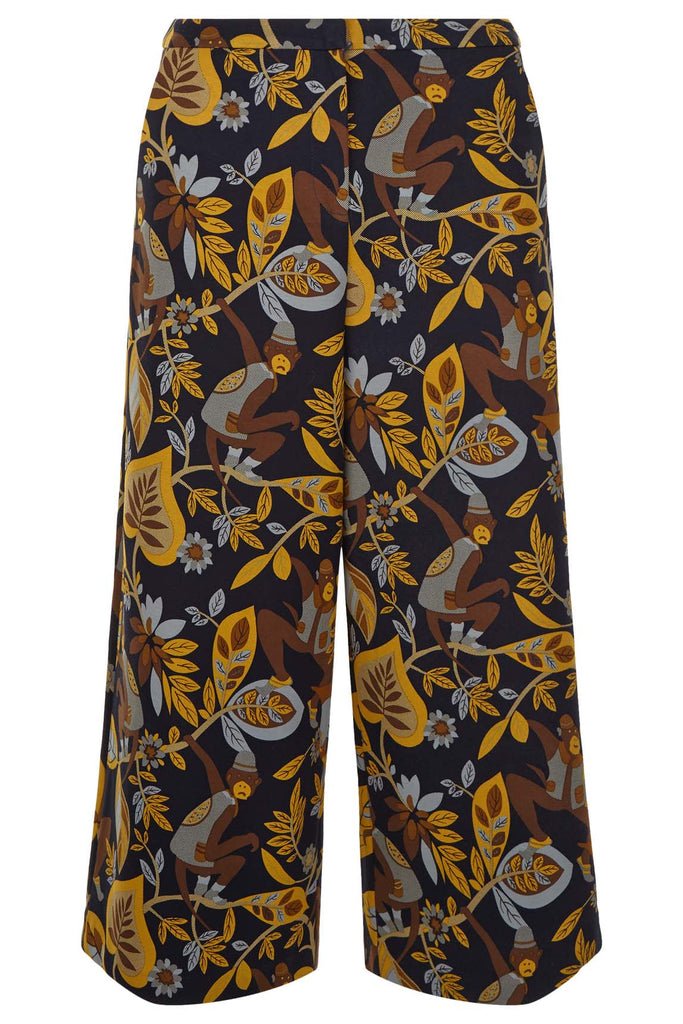 Traffic People Monkey Printed Culottes Trousers in Black Back View Image
