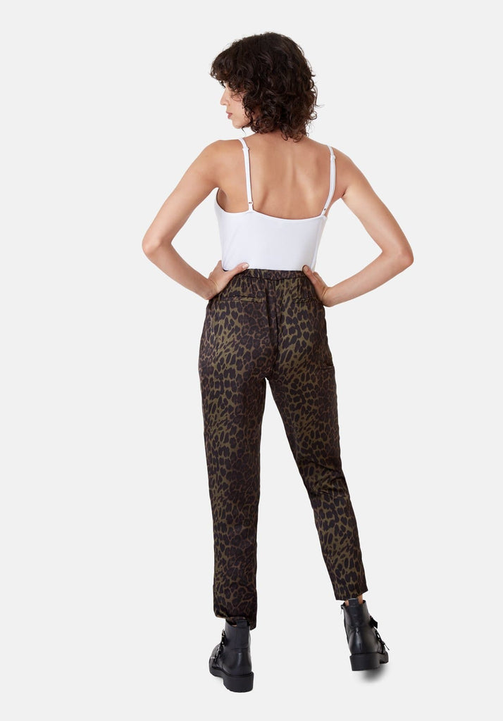 Traffic People Tapered Animal Print Satin Trousers in Green Back View Image