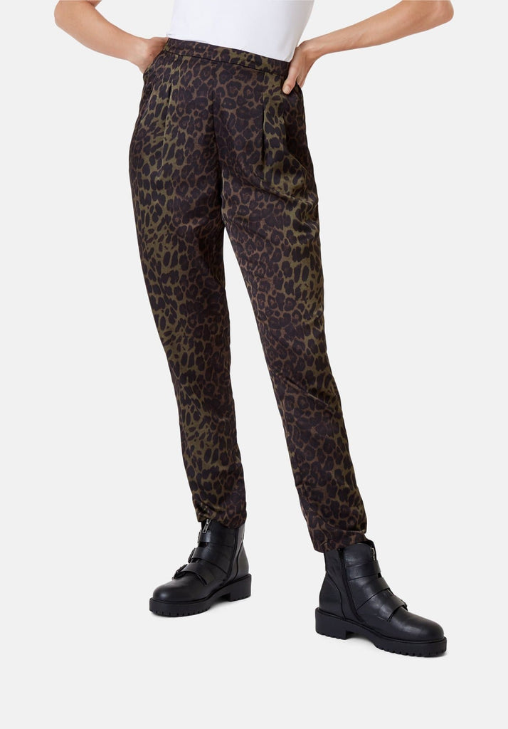 Traffic People Tapered Animal Print Satin Trousers in Green Side View Image