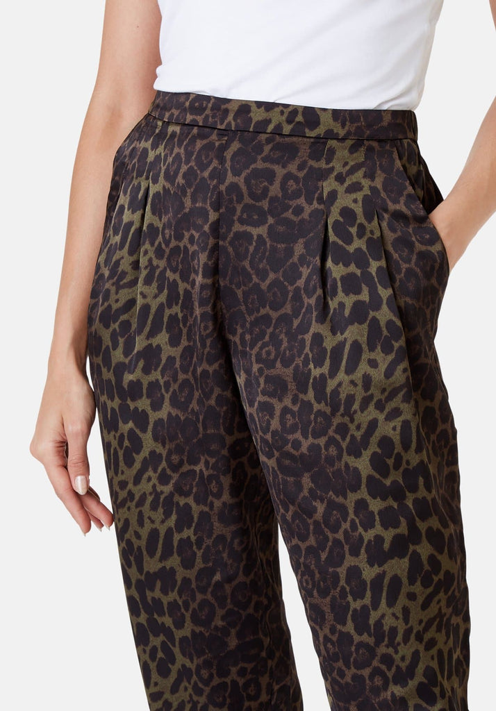 Traffic People Tapered Animal Print Satin Trousers in Green Close Up Image