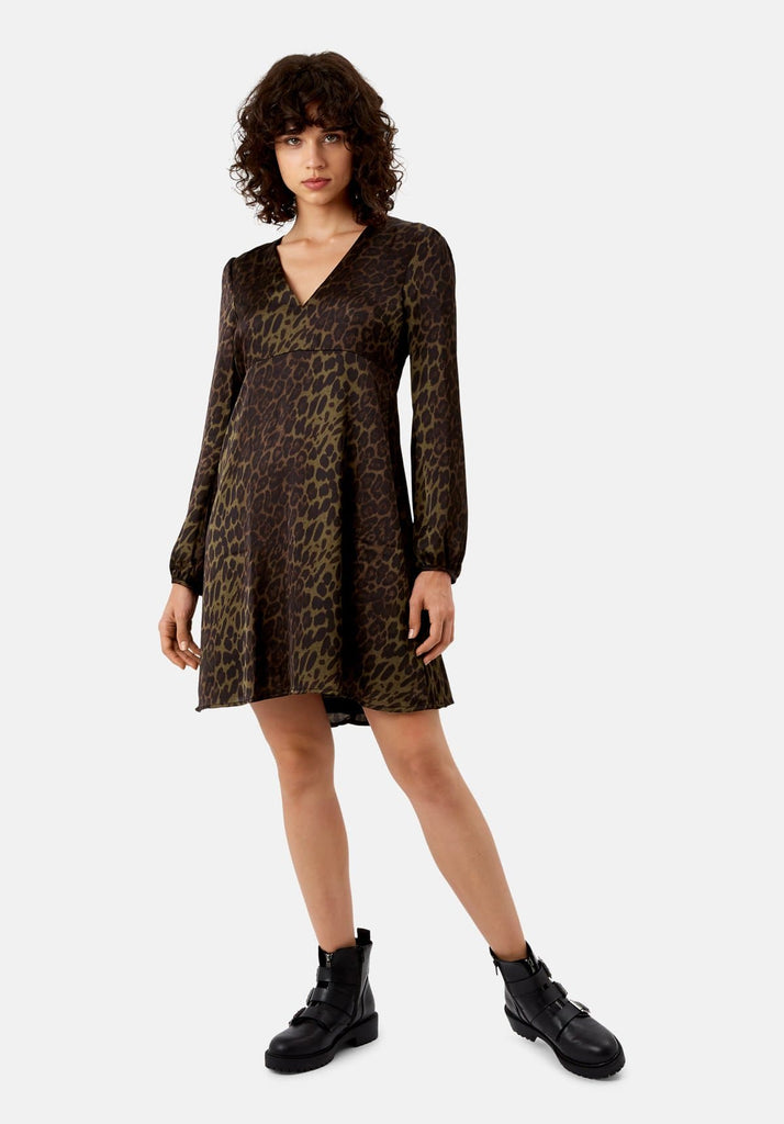 Traffic People Mama Mia Mini Animal Print Dress in Green Front View Image