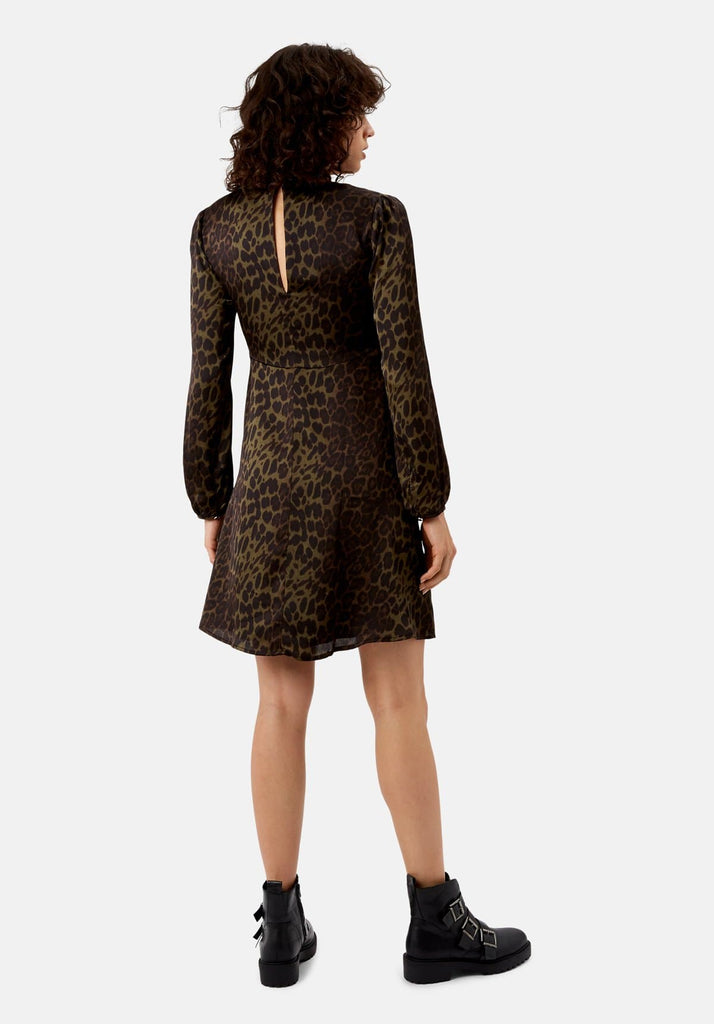 Traffic People Mama Mia Mini Animal Print Dress in Green Back View Image
