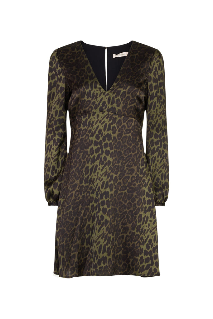 Traffic People Mama Mia Mini Animal Print Dress in Green FlatShot Image