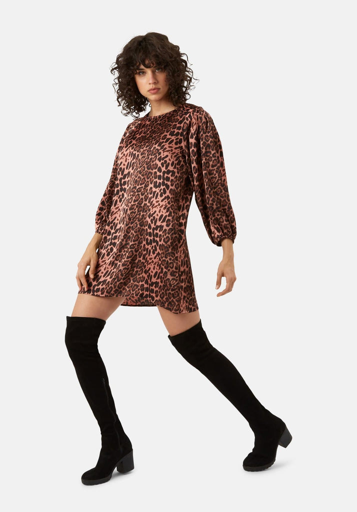 Traffic People Please Me Mini Animal Print Dress in Pink Front View Image