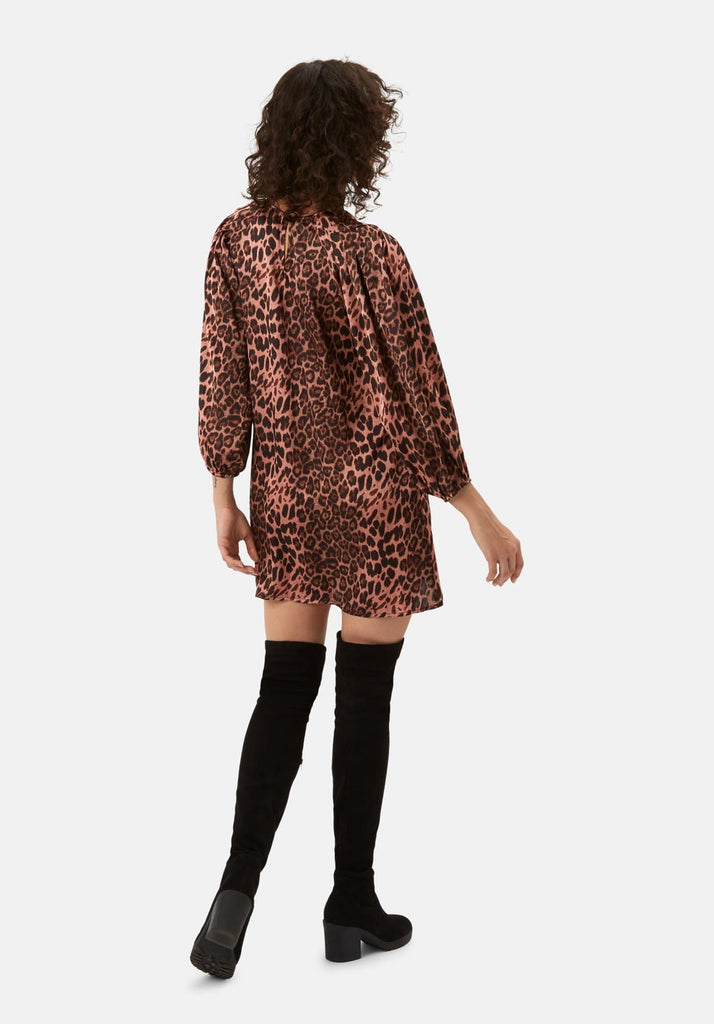 Traffic People Please Me Mini Animal Print Dress in Pink Back View Image