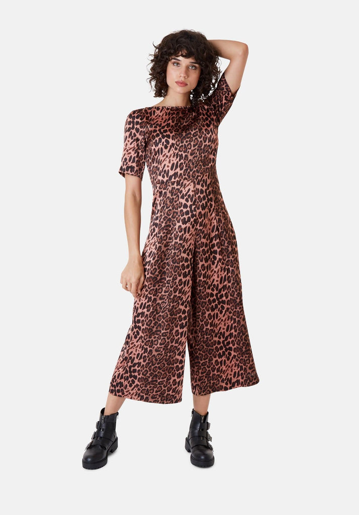 Leopard Print Short Sleeve Bianca Jumpsuit in Pink