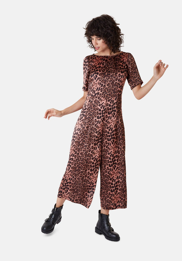 Traffic People Leopard Print Short Sleeve Bianca Jumpsuit in Pink Front View Image