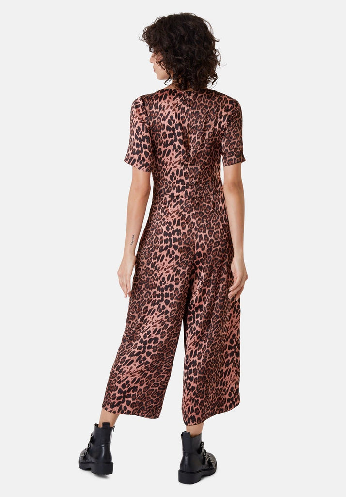 Traffic People Leopard Print Short Sleeve Bianca Jumpsuit in Pink Back View Image